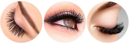 ojos con extensiones de pestañas