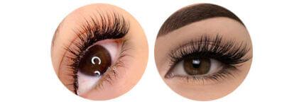 Par de ojos con extensiones de pestañas